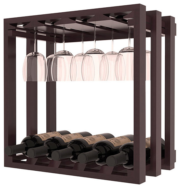Lattice Stacking Stemware Cube - in Redwood with Mahogany Stain + Satin Finish traditional-wine-racks