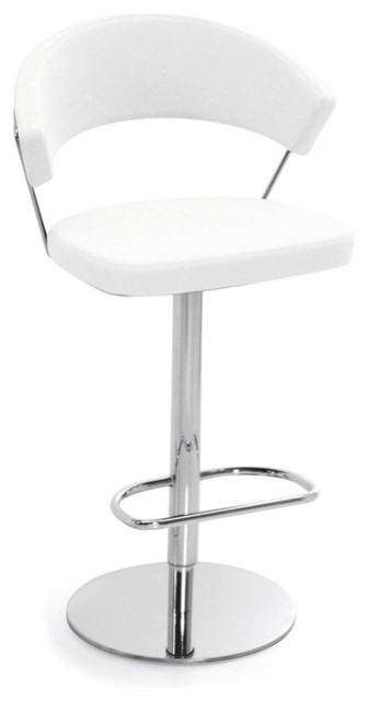 new york swiveling with gas lift bar stool leather white