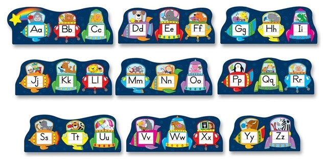 Contemporary table lamps - Theme Bulletin Board Set 9 Alphabet Contemporary Kids Wall Decor