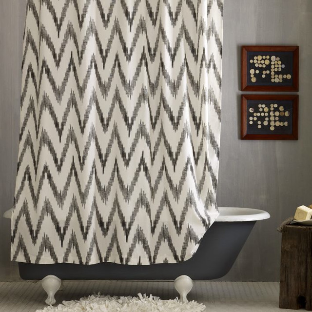 Chevron Shower Curtain   I Yellow And Grey Shower Curtain Products On Houzz