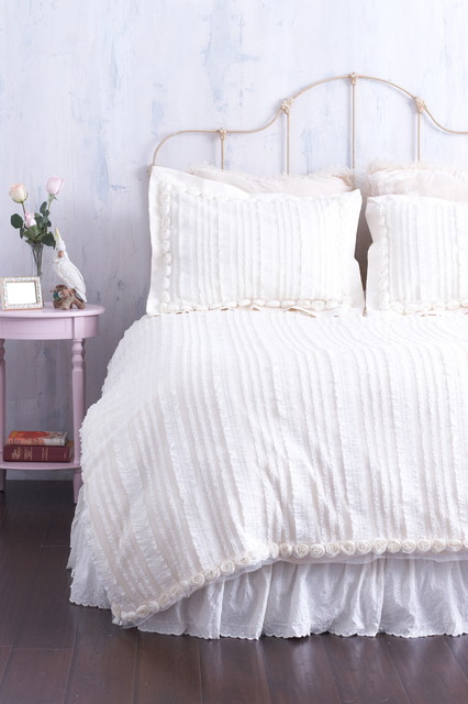 Cream Ruffled Duvet Cover With Rosette Trim