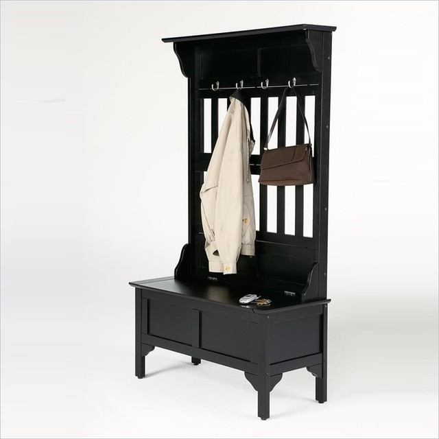 Home Styles Hall Tree And Storage Bench In Black