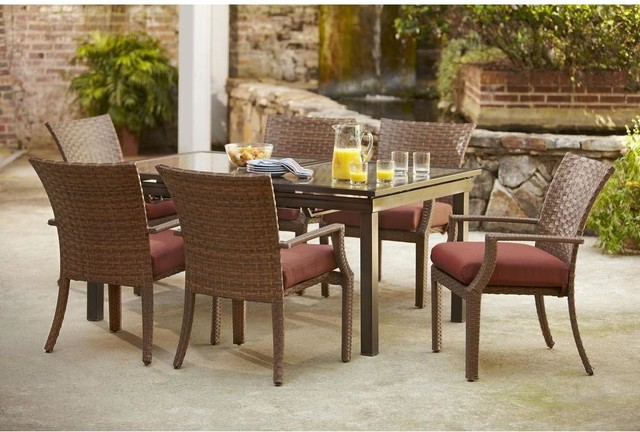 Hampton Bay Dining Furniture Tobago 7 Piece Patio Dining Set With Burgundy Contemporary