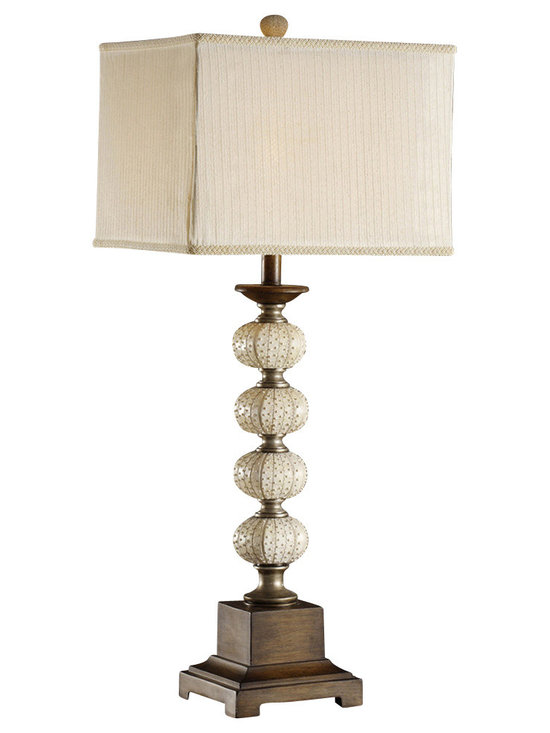 """Crestview - Crestview CVATP850 Seagrove Table Lamp - Seagrove Table Lamp Resin Sea Urchin Table Lamp (13/13 x 13/13 x 11"""" Double Layer Shade in Cream Striped Sheer & Taupe Fabrics) 3-way 100w max wattage bulb 35"""" Ht."""