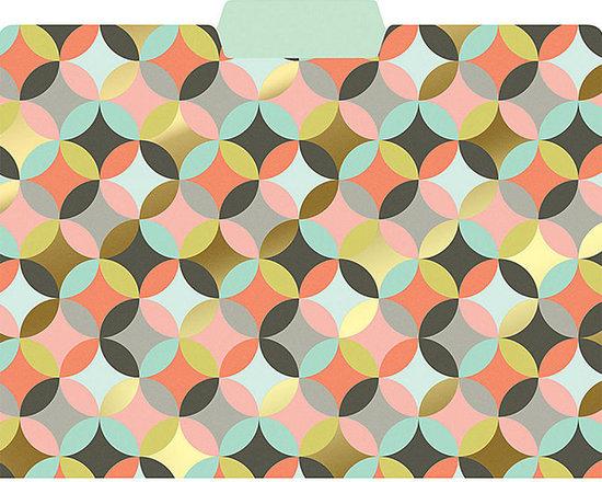 Geometric Circles Gold Foil File Folders, Set of 6 -