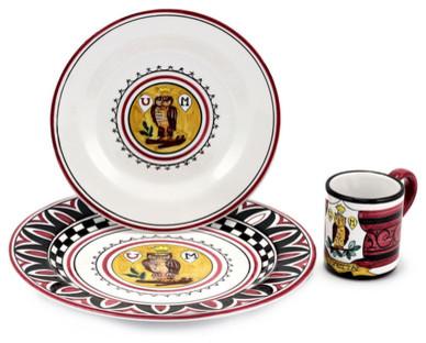 Palio Di Siena: Civetta (Owl) Place Setting Pre-Pack: Charger+Dinner+Mug mediterranean-dinnerware