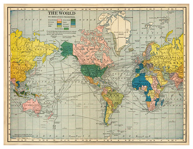 Antique Global Bazaar World Map Large - Unframed transitional-prints-and-posters