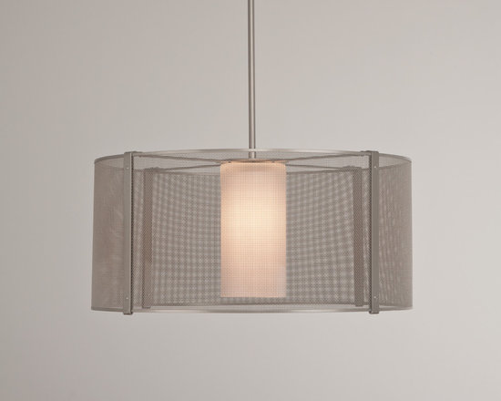 Hammerton - Mesh Uptown Chandelier - Mesh Uptown Chandelier in a Metallic Beige Silver or Flat Bronze finish with Frosted glass or with No glass. Available as a small or large. The unique qualities of woven steel mesh make it ideal for decorative lighting. Mesh emits strength and softness, volume and airiness, warmth and sophistication, all simultaneously. Substitutes like perforated or stamped metal cannot begin to compare with the ethereal elegance of woven mesh. The Uptown Mesh collection transforms this common material into uncommon works of functional, urban-inspired art that accommodates most budgets. Glass: One 100 watt, 120 volt A19 type Medium base Incandescent lamp. No Glass: One 100 watt, 120 volt Edison A Shape type Medium base Incandescent lamp. Lamps not included. Small: 18 inch width x 11.25 inch height x 51.5 inch adjustable length. Medium: 24 inch width x 11.25 inch height x 51.5 inch adjustable length.