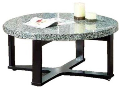 Steve Silver Gabriel Round Black Wood Coffee Table with Marble Top modern-side-tables-and-end-tables