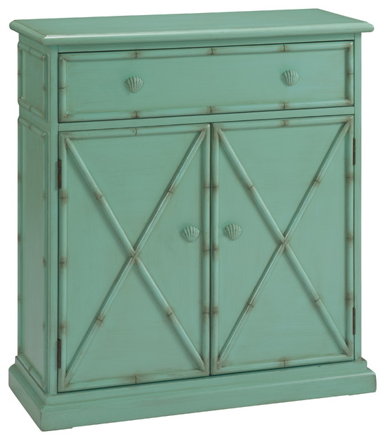 Navassa Seafoam Green One Drawer Cabinet  Transitional  Kitchen
