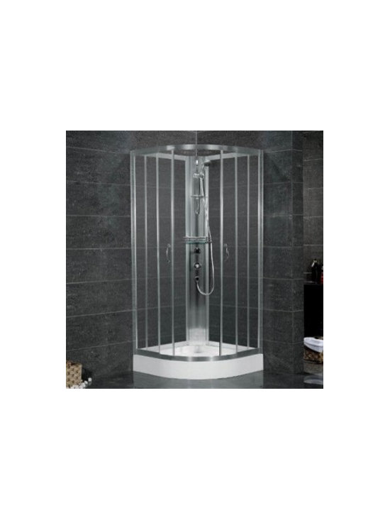 "Aston Global 38"" x 38"" Shower Cabinet in Chrome Finish SC708 - Quadrant, bypass shower cabinet with aluminum shower column and acrylic shower base"
