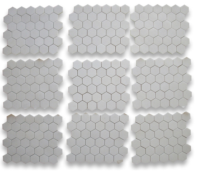 Thassos White 2 inch Hexagon Mosaic Tile Honed - Marble from Greece  kitchen tile