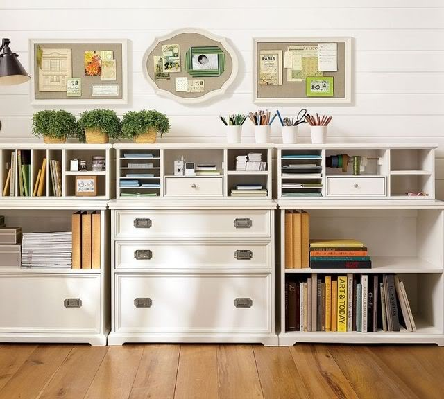 White Cottage Office Organization Traditional Other Metro