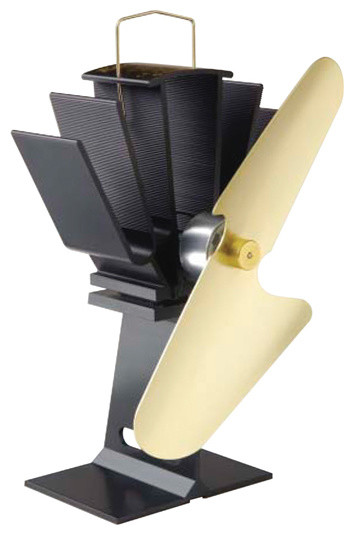 Ecofan for Wood Stoves, Black Body, Gold Blades modern-fireplace-accessories