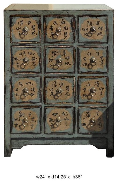 Chinese Antique Turquoise Lacquer Medicine Cabinet / End Table asian ...