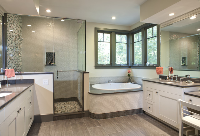 Gray and white Master Bath - contemporary - bathroom - boston - by ...