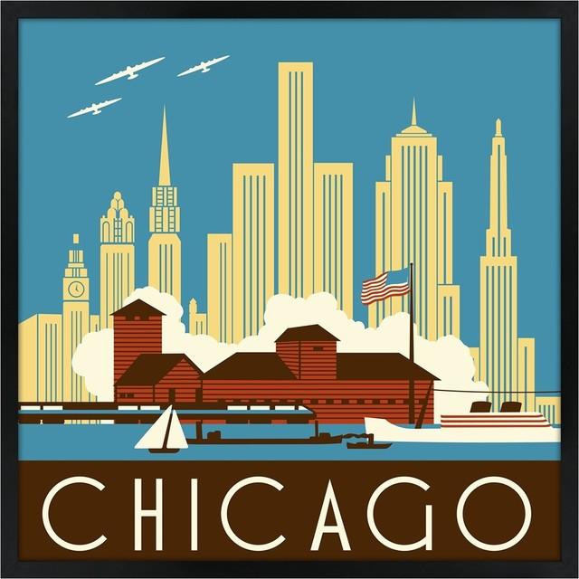 "Contemporary Chicago II 21"" Square Black Giclee Wall Art contemporary-artwork"