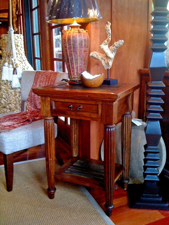 Island Collection - Aitutaki Nightstand, Totally handcrafted from Teak;  Price;  $ 645.00 Available at; Island Collection, New Smyrna Beach, Florida www.islandcollection.com