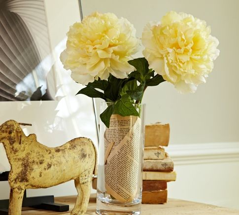 Faux Peony Stem, Yellow traditional-artificial-flowers