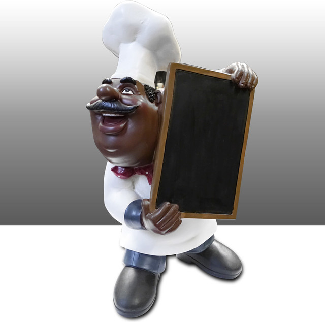 black chef kitchen statue menu board holder table art decor traditional kitchen products. Black Bedroom Furniture Sets. Home Design Ideas