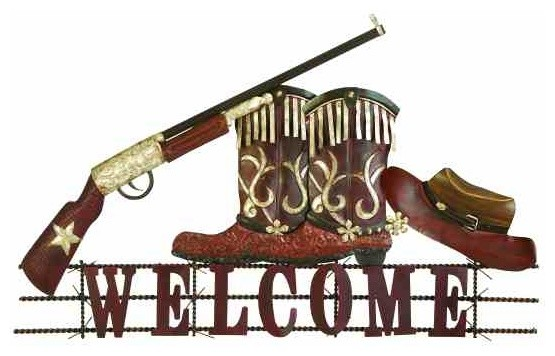 Fancy cowboy welcome wall decor eclectic artwork by for Cowboy wall mural