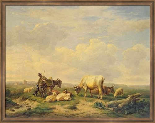 Herdsman and herd framed print traditional artwork Fine art america