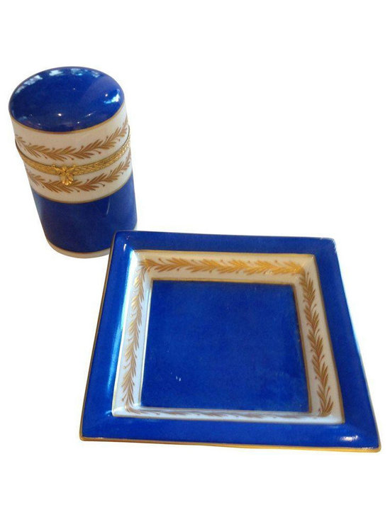 Blue & Gold Limoges Cigarette Caddy & Ashtray - $275 Est. Retail - $89 on Chairi -
