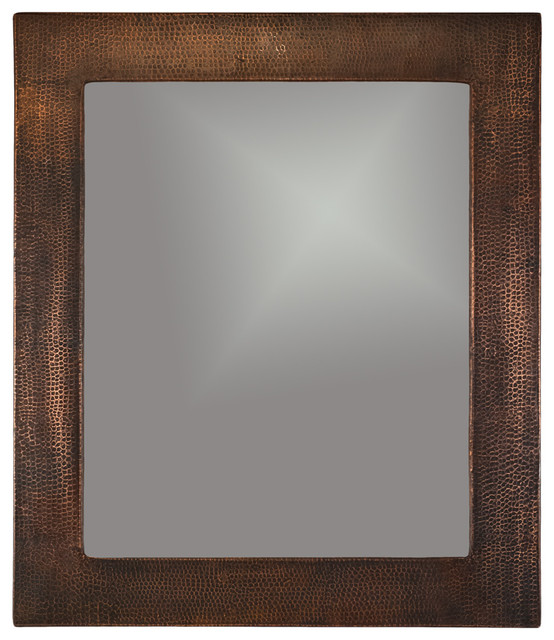 Hand Hammered Rectangle Copper Mirror Rustic Mirrors