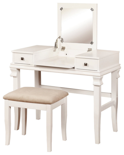 Linon Angela White 2 Piece Vanity Set Contemporary Bedroom Makeup Vanities By
