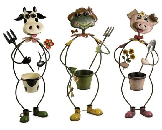 """IMAX CORPORATION - Farmhouse Friends Planters - Set of 3 - Cow, frog and pig farm characters frame the planters in this whimsical set of three planters made of metal and painted with brilliant color. Set of 3 in various sizes measuring around 21""""L x 14.75""""W x 14.25""""H each. Shop home furnishings, decor, and accessories from Posh Urban Furnishings. Beautiful, stylish furniture and decor that will brighten your home instantly. Shop modern, traditional, vintage, and world designs."""