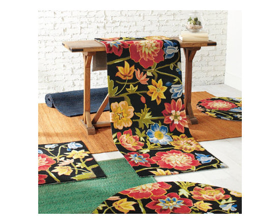 Grandin Road - Blooming Garden Rug - Fanciful rug with stylized floral design including columbine, peony, and buttercup. Hand hooked with high density poly-acrylic fibers. Clean spills immediately by blotting with a clean sponge or cloth. Professionally clean only. Rug padding is recommended (see our nonslip rug grips). A profusion of flowers-stylized columbine, peony, and buttercup-pose petal to petal as if in a class portrait. Set against a black background, the floral design pops with color.  .  .  .  .  . Imported .