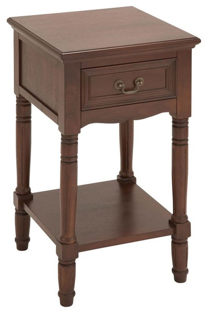 Wood Accent Table in Brown Finish with Glossy Lacquer traditional-side-tables-and-end-tables