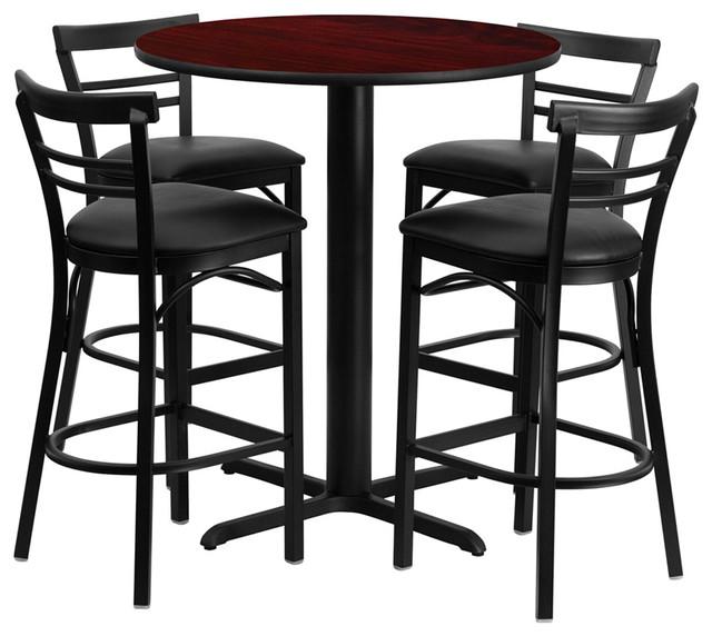 "24"" Round Mahogany Laminate Table Set with Metal Bar Stools - Black Seat contemporary-dining-sets"