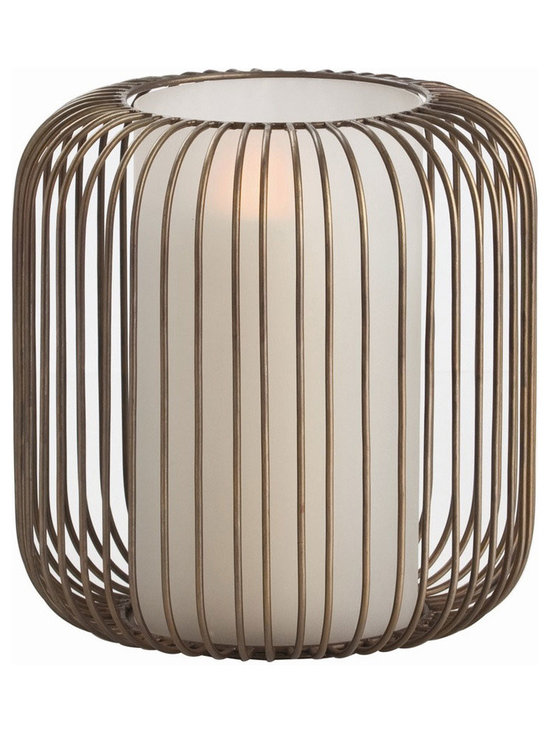 Arteriors Home - Genisis Hurricane - Genesis Hurricane features Antique Brass heavy gauge wire curves around a frosted glass chimney creating a mid-century inspired hurricane. 11 inch diameter x 11.5 inch height.