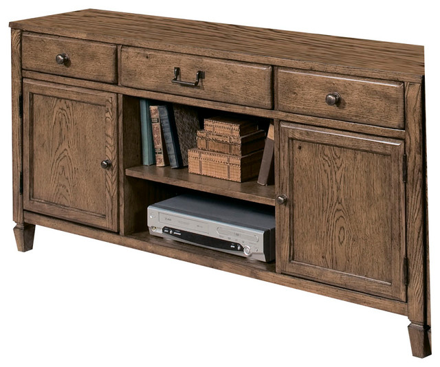 American Drew Americana Home Entertainment Console in Warm Oak traditional-media-storage