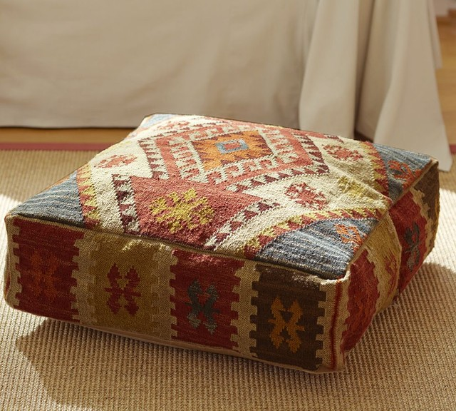 Outdoor Moroccan Floor Pillows : Kilim Recycled Yarn Floor Pillow - Mediterranean - Floor Pillows And Poufs - by Splendid Willow