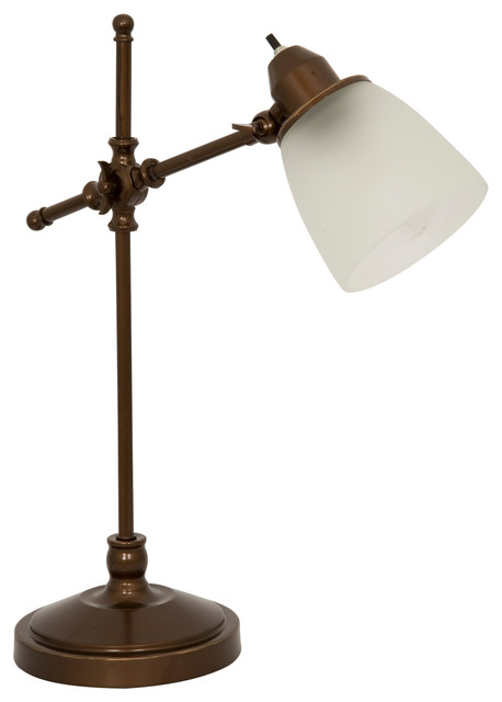 Home Design Antique Bronze Pivot Desk Lamp With Frosted White Glass Shade I