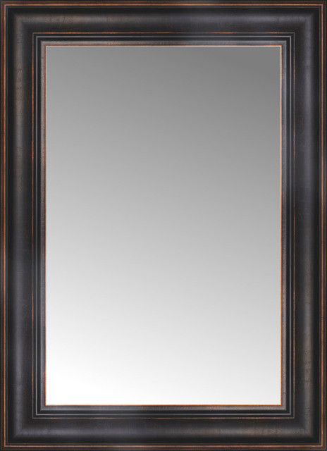 18 x 24 aged bronze slope custom framed mirror for Mirror 18 x 24