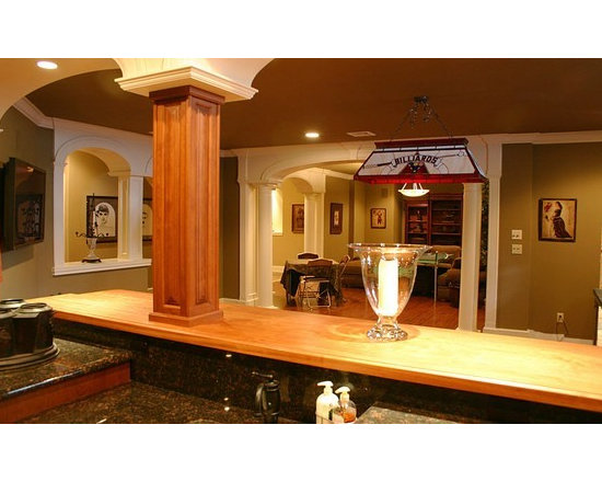 Brazilian Cherry Bar Top with Drawbridge. Designed by Joanne's Kitchens..jpg - http://www.glumber.com/
