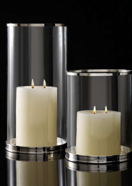Silver Modern Hurricane modern candles and candle holders