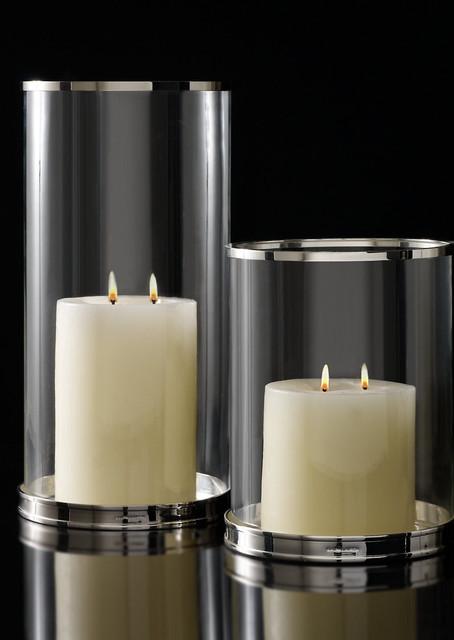 Silver Modern Hurricane Modern Candleholders By