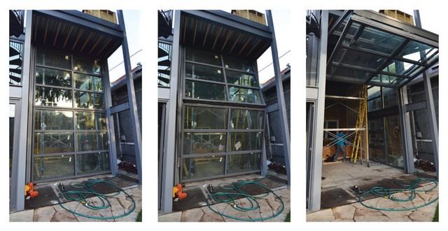 Industrial Bifold Doors : Steel glass bi fold door installation contemporary