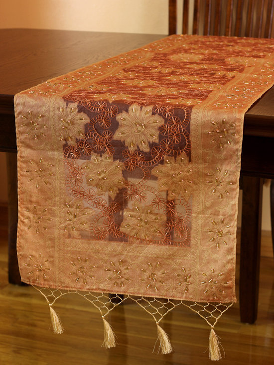 Elegant Table Runners - Delicate 100% Silk Table Runner. Inspired by the Fall Season. Hand crafted in India. Salmon color with gold shade. Pink