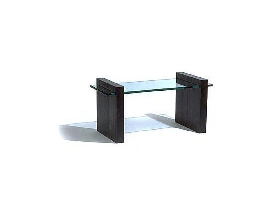 Mocha Coffee Table - The design of this refined modern coffee table celebrates the elemental play of glass slicing through solid wood.
