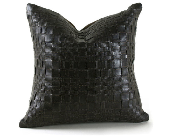 """Pfeifer Studio - Basket Woven Leather Pillow, 18""""x9"""" - These handsome pillows are created by artisans in India who weave thin strips of leather by hand to create geometric patterns. Each strip is outlined with a topstitch. The pillows have a matching linen back and are fitted with a medium-fill feather and down inner."""