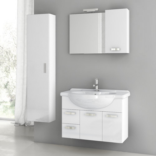 32 Inch Glossy White Bathroom Vanity Set contemporary-bathroom-vanities-and-sink-consoles