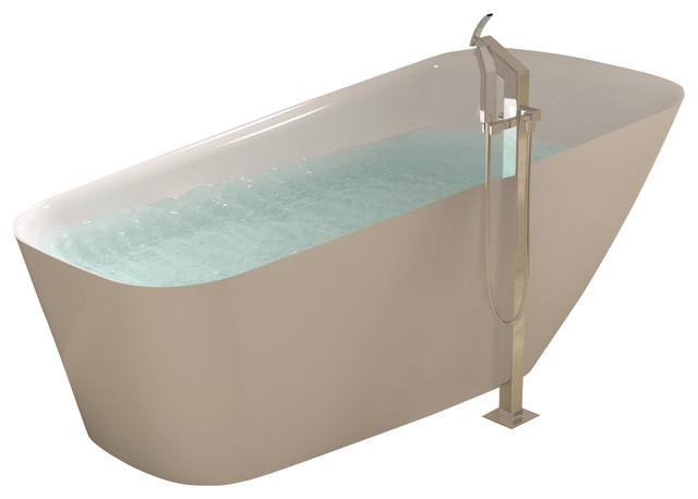 Stand Alone Bathtubs : ADM White Stand Alone Solid Surface Stone Resin Bathtub, White, Glossy ...