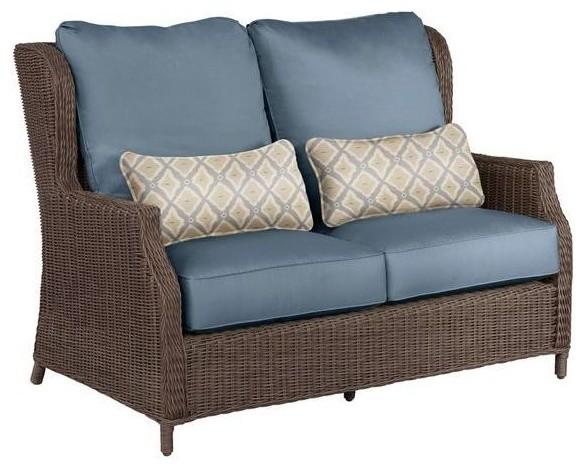 Brown jordan chairs vineyard patio loveseat in denim with for Brown jordan lawn furniture