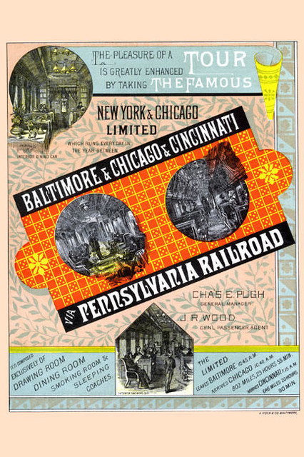 Tour the Famous Pennsylvania Railroad 28x42 Giclee on Canvas contemporary