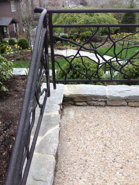 Exterior Railing created & hand forged by Oak Hill Iron